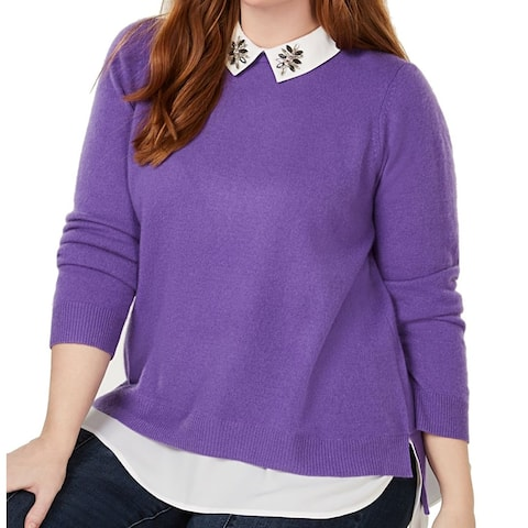 Charter Club Women's Sweater Purple Size 1X Plus Collared Layered-Look