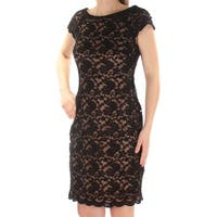 CONNECTED Womens Black Lace Cap Sleeve Jewel Neck Above The Knee Sheath Cocktail Dress  Size: 10
