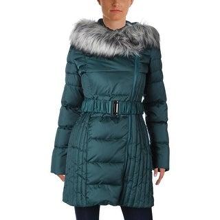 Betsey Johnson Womens Puffer Coat Outerwear Faux Fur Trim