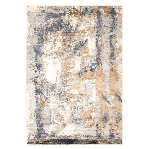 ECARPETGALLERY Hand Loomed Galleria Grey Viscose Rug - 5'4 x 7'7