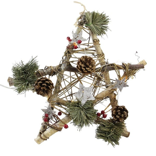 "12"" Wooden Star with Pine Cones and Twigs Rustic Christmas Ornament - brown"