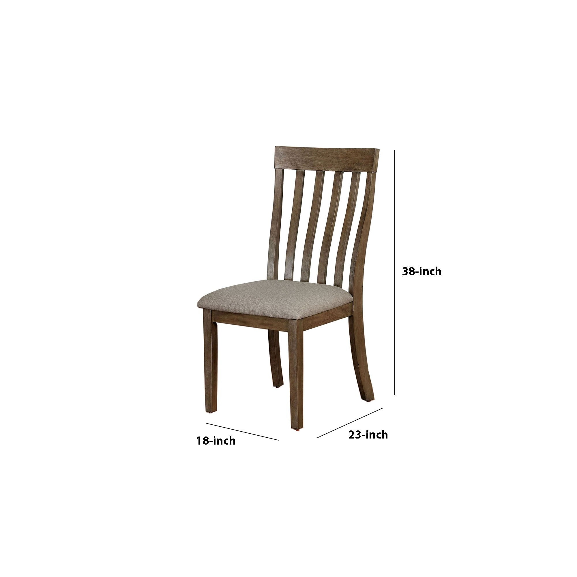 Contoured Slat Back Wood Side Chair Set Of 2 Taupe And Brown Overstock 32119133