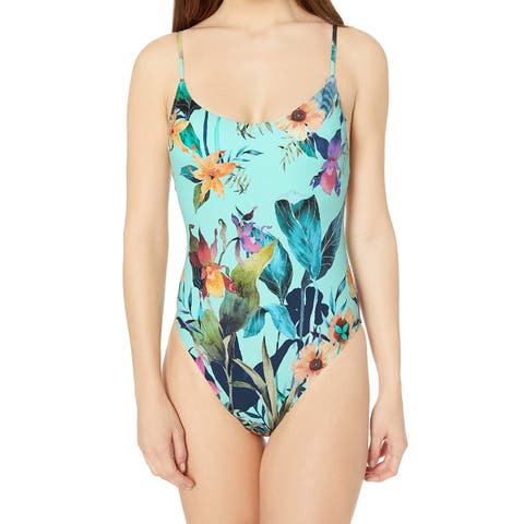 Nanette Lepore Women's Swimwear Blue Size 14 One-Piece Floral Printed