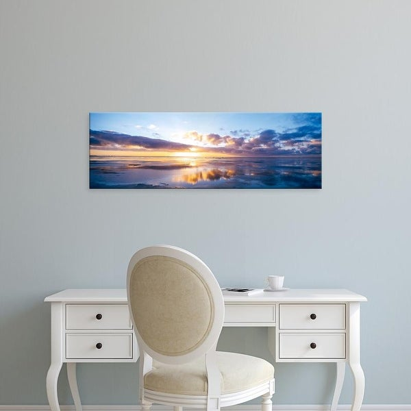 Easy Art Prints Panoramic Images's 'Sunrise On Beach, North Sea, Germany' Premium Canvas Art