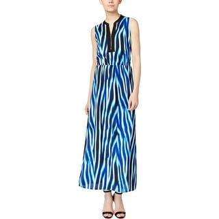 Calvin Klein Womens Maxi Dress Printed Zip-Front