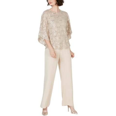 Jessica Howard Womens Pant Outfit Lace 2PC - Champagne
