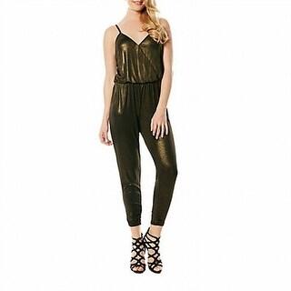 Laundry By Shelli Segal NEW Gold Women Size 8 Crop Surplice Jumpsuit