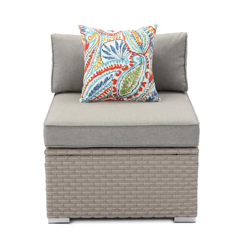 COSIEST Outdoor Wicker Patio Sectional Wicker Armless Chair With Pillow