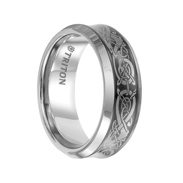HUGO Beveled Tungsten Carbide Wedding Band with Black Concave Center and Dragon Pattern Engraving by Triton Rings - 8 mm