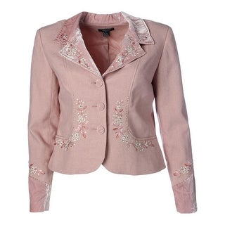 Karen Kane Womens Metallic Beaded Three-Button Blazer - XL