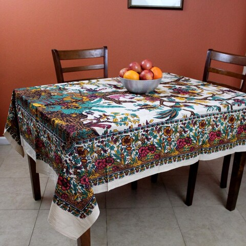 Cotton Tree of Life Tapestry Wall Hang 85x55 inches Tablecloth Beach Sheet - Beige, Orange, Purple