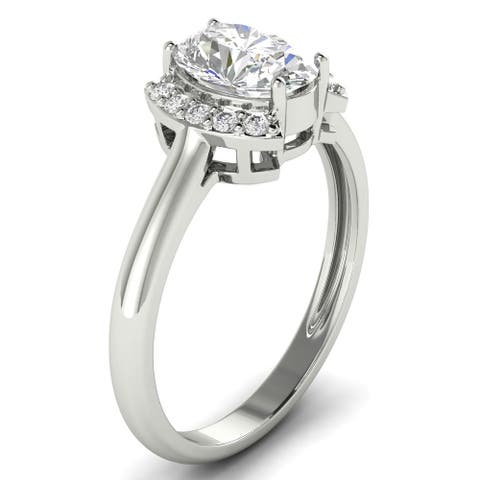 1.10 CT Oval & Round Half Halo Diamond Engagement Ring 1CT Center 14KT