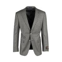 Dolcetto Toupe, Gray with Black Mini Windowpane Modern Fit, Pure Wool Jacket by Canaletto Menswear 64.520/1