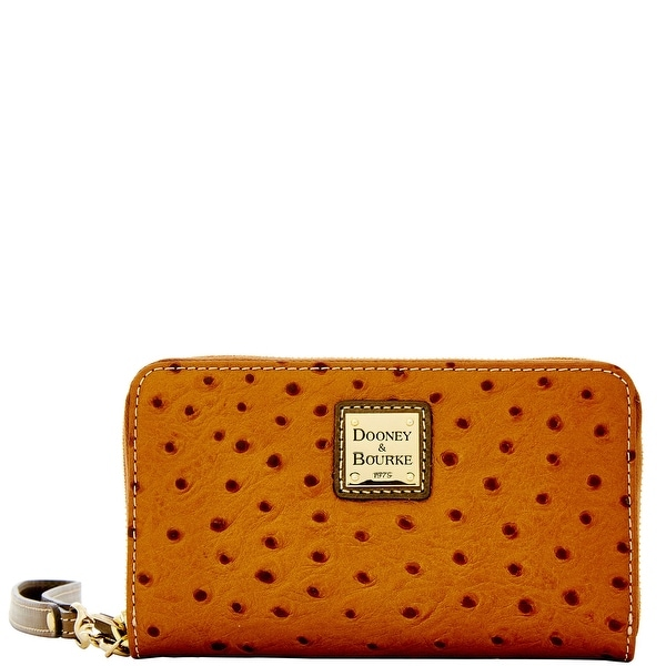 Dooney & Bourke Ostrich Zip Around Phone Wristlet (Introduced by Dooney & Bourke at $118 in Jul 2015) - bronze grey