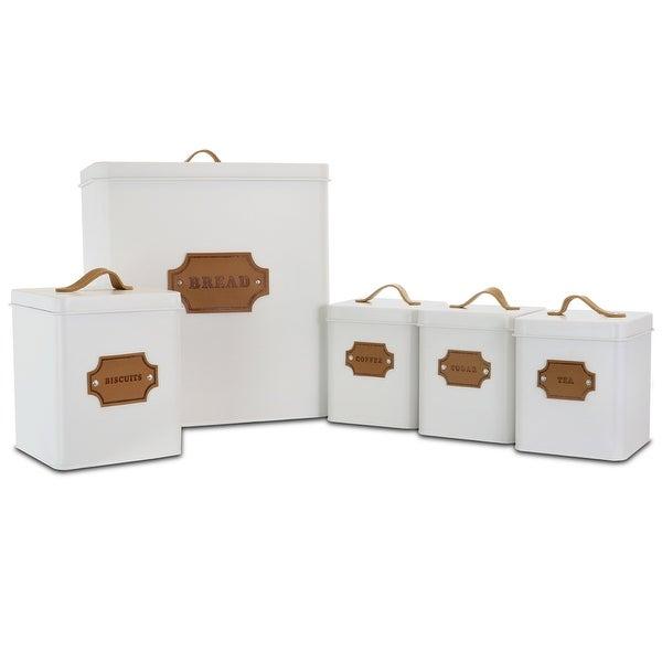MegaChef Kitchen Food Storage 5 Piece Cannister Set White. Opens flyout.