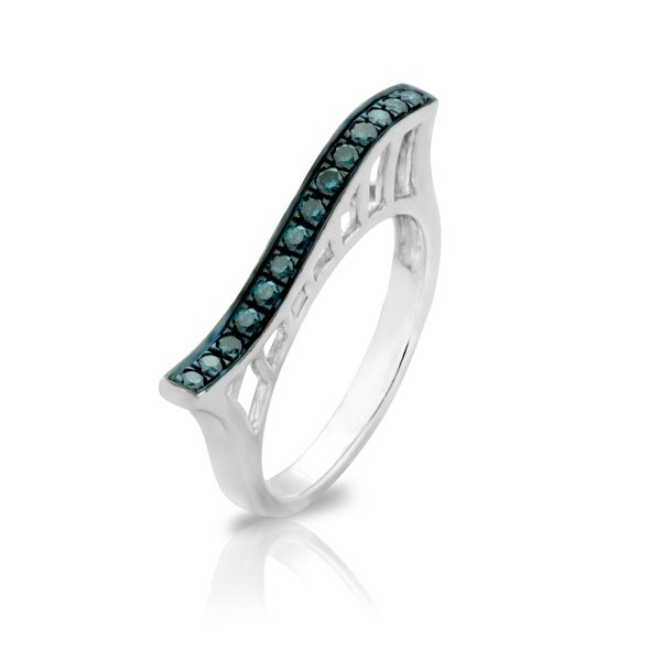 Awesome 0.24ct Round Brilliant Cut Blue Color Natural Diamond Roller Coaster Style Ring