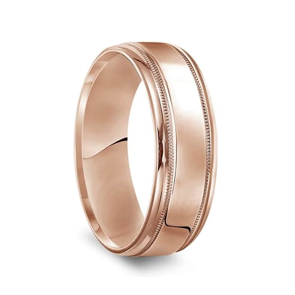 Shop 14k Rose Gold Men S Polished Wedding Band With Milgrain Accents 7mm Overstock 27507278