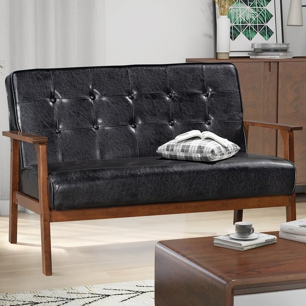 Merax Solid Upholstered PU Leather/ Fabric 2-Seat Couch Loveseat. Opens flyout.