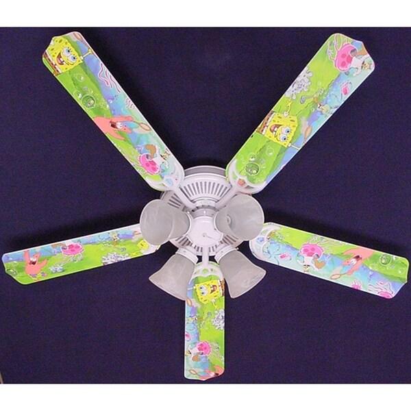 Nickelodeon Sponge Bob Print Blades 52in Ceiling Fan Light Kit - Multi