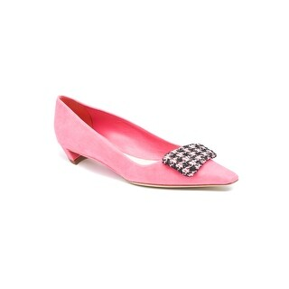Dior Pink Suede Barrette Houndstooth-buckle Ballerina Flats Size 38 / 8