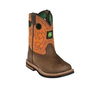 John Deere Toddler Boys Girls Dark Brown Rust Leather Foot Boots 4-8