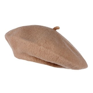 Topheadwear Wool French Beret, Camel - Cream