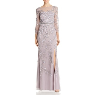 Link to Adrianna Papell Womens Evening Dress Sequined Illusion - Lilac Grey Similar Items in Dresses