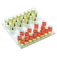 Chess Drinking Game - 32 One-Ounce Shot Glasses and Playing Board - Clear
