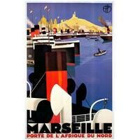 ''Marseille'' by Roger Broders Vintage Advertising Art Print (38.25 x 24.5 in.)