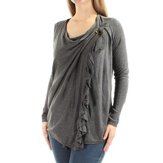 Womens Gray Long Sleeve Jewel Neck Casual Top Size M