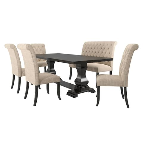 Furniture of America Melsta Rustic Black 6-piece Dining Table Set with Bench