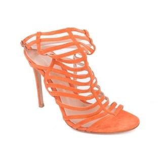 Gianvito Rossi Orange Suede Caged Ankle Strap Stiletto Sandals