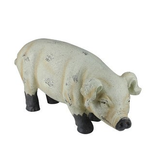 "11.5"" Country Rustic Distressed Brown and Off White Smiling Gary the Pig Tabletop Figure - N/A"