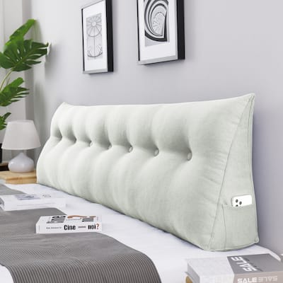 WOWMAX Day Bed Rest Wedge Bolster Reading Pillow Back Support Off White/Beige King Size
