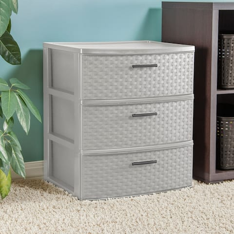 STERILITE 3 Drawer Wide Weave Tower, Cement frame w/ Flat Gray Handles