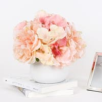 G Home Collection Light Orange Pink Hydrangea Peony Mixed Arrangement