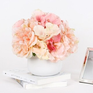 G Home Collection Light Orange Pink Hydrangea Peony Mixed Arrangement