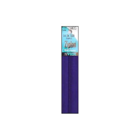 "YKK Ziplon Coil Zipper 14"" Purple"