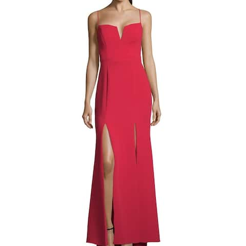 Xscape Womens Gown Red Size 10 Crepe Double Thigh High Slits Seamed