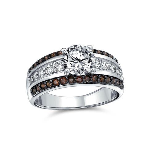 3CT AA CZ Solitaire Engagement Ring Coffee Brown 3 Row Sterling Silver