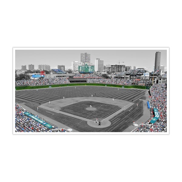 Chicago - MLB Baseball Field Touch of Color - 36x12 Gallery Wrapped Canvas ToC