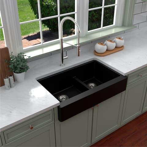 Karran Retrofit Apron-Front Quartz Double Bowl Kitchen Sink