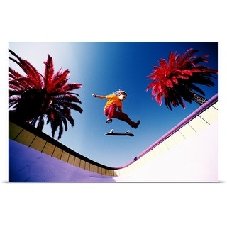 Poster Print entitled Skateboarder in mid-air