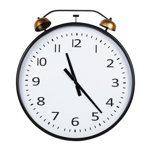 Stratton Home Decor 24 Inch Twin Bells Wall Clock - 24.00 X 2.50 X 28.00