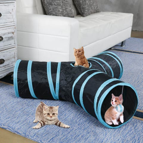3-Way Collapsible Interactive Pet Toy Tunnel with Ball Indoor or Outdoor Use
