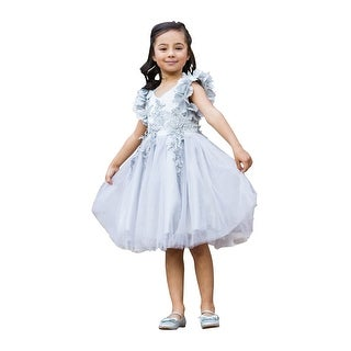 Just Couture Girls Silver Petal Sleeve Satin Junior Bridesmaid Dress