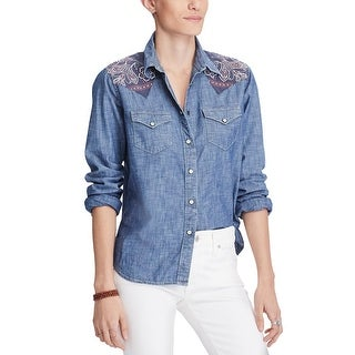 Denim & Supply Ralph Lauren Cotton Chambray Shirt Caspian Wash - l