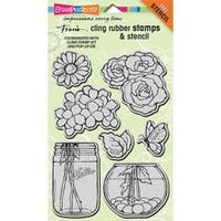 "Build A Bouquet Set - Stampendous Cling Stamps & Stencil 5""X7"""