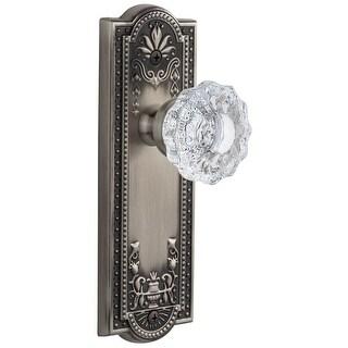 "Grandeur PARVER_PSG_234  Parthenon Solid Brass Rose Passage Door Knob Set with Versailles Crystal Door Knob Set and 2-3/4"""