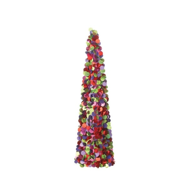 3' Christmas Whimsy Dazzling Multi-Color Sequin Cone Tree Table Top Display